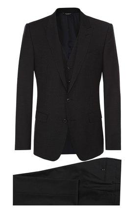 Шерстяной костюм-тройка Dolce & Gabbana темно-синий | Фото №1