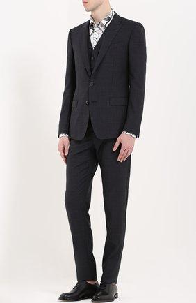 Шерстяной костюм-тройка Dolce & Gabbana темно-синий | Фото №2