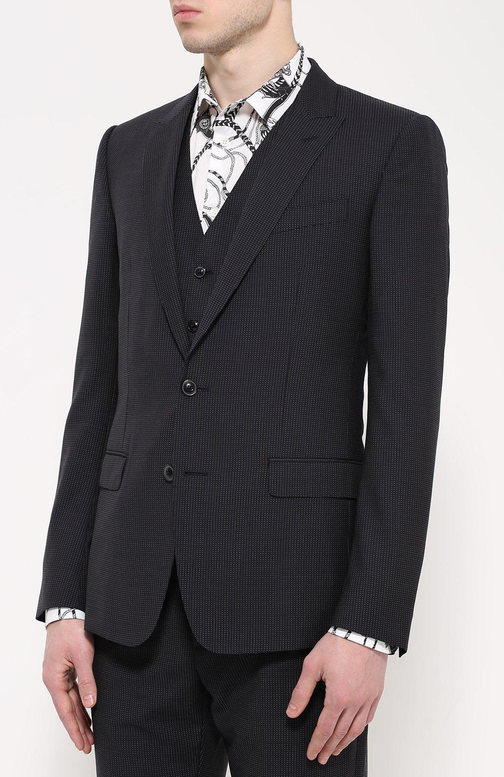 Шерстяной костюм-тройка Dolce & Gabbana темно-синий | Фото №3