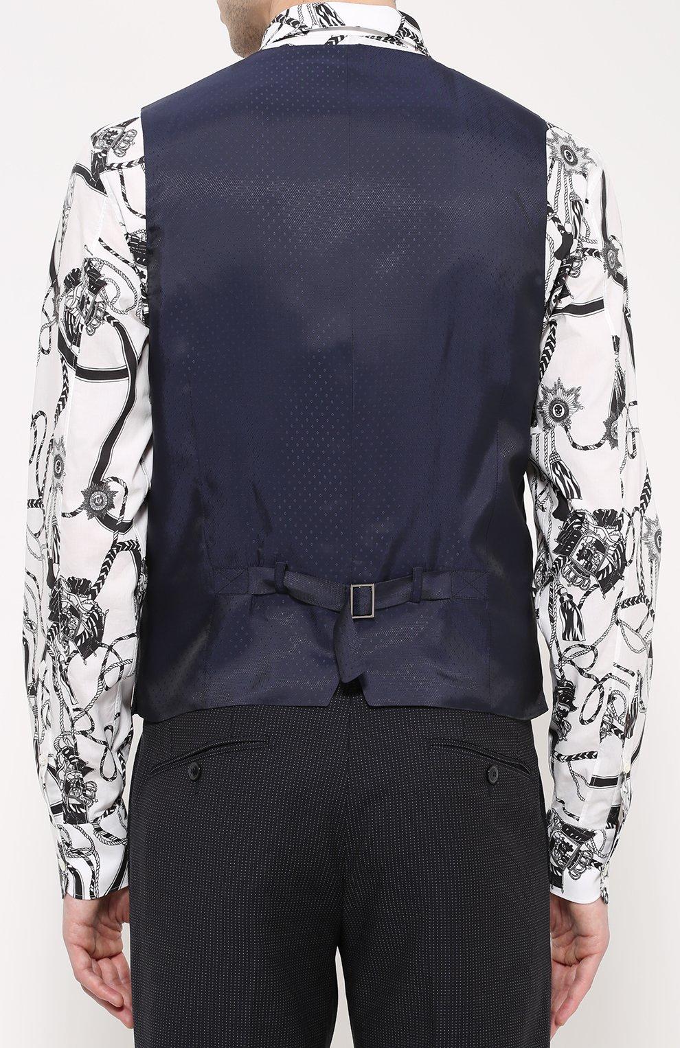 Шерстяной костюм-тройка Dolce & Gabbana темно-синий | Фото №6