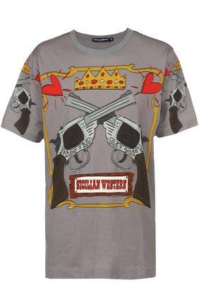 Хлопковая футболка с принтом Dolce & Gabbana серая   Фото №1