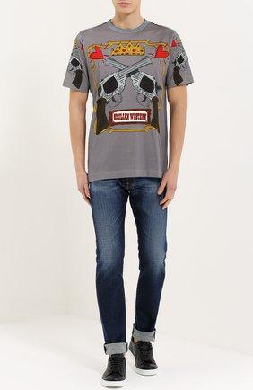 Хлопковая футболка с принтом Dolce & Gabbana серая   Фото №2