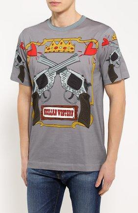 Хлопковая футболка с принтом Dolce & Gabbana серая   Фото №3