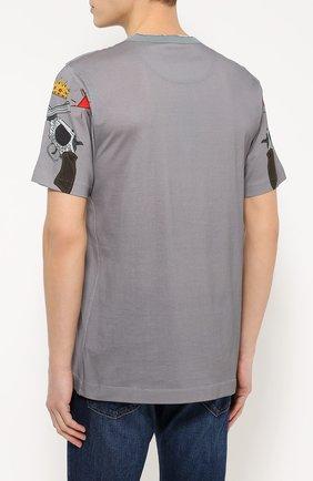 Хлопковая футболка с принтом Dolce & Gabbana серая   Фото №4