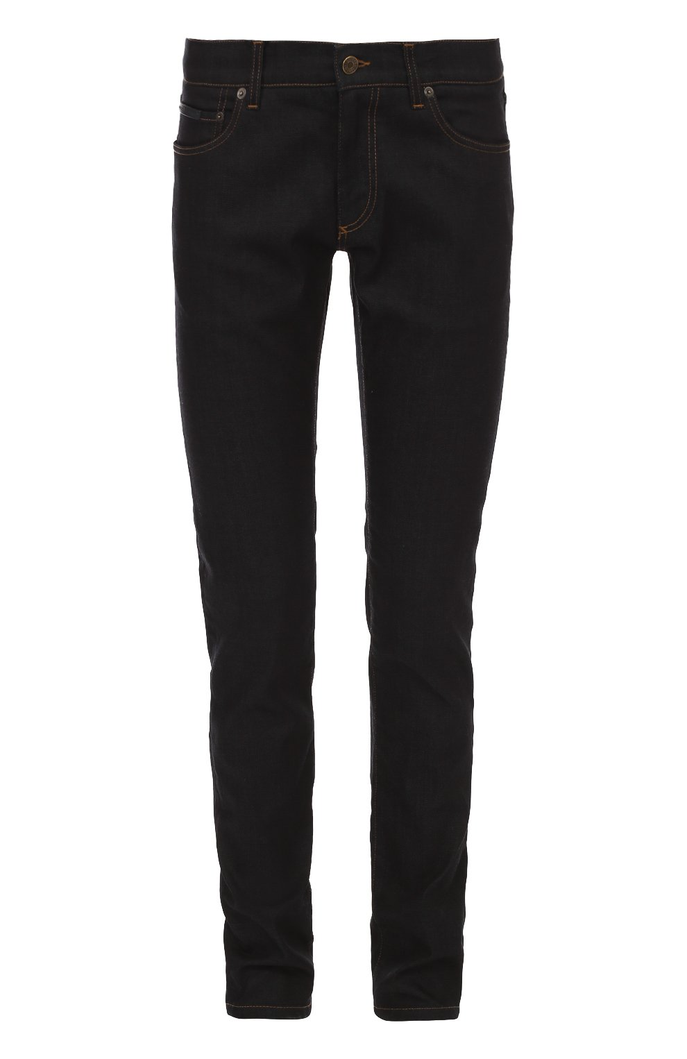 Зауженные джинсы с контрастной прострочкой и аппликацией | Фото №1