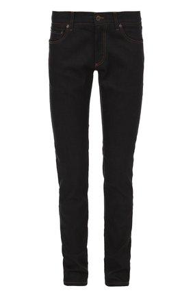 Зауженные джинсы с контрастной прострочкой и аппликацией Dolce & Gabbana синие | Фото №1