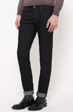 Зауженные джинсы с контрастной прострочкой и аппликацией Dolce & Gabbana синие | Фото №3