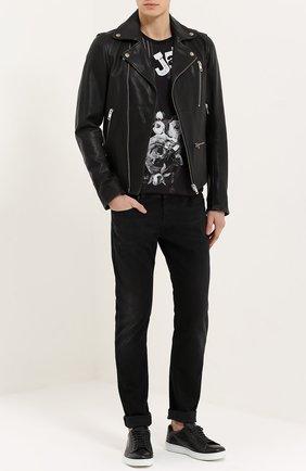 Хлопковая футболка с принтом James Dean и нашивками Dolce & Gabbana черная | Фото №2