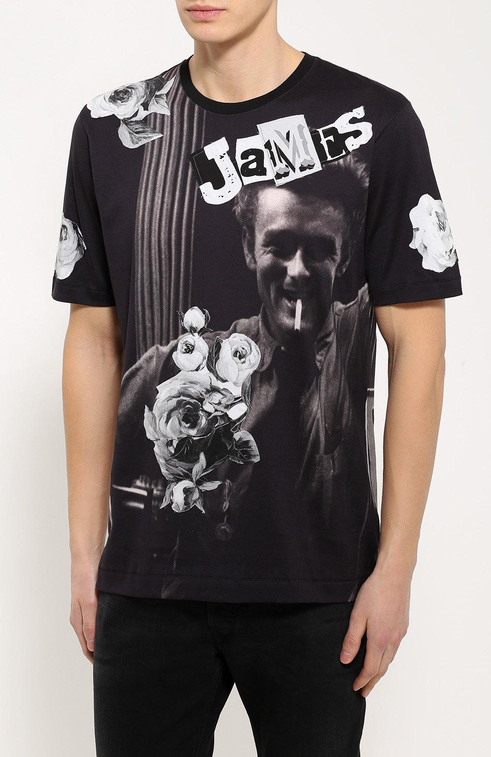 Хлопковая футболка с принтом James Dean и нашивками Dolce & Gabbana черная | Фото №3