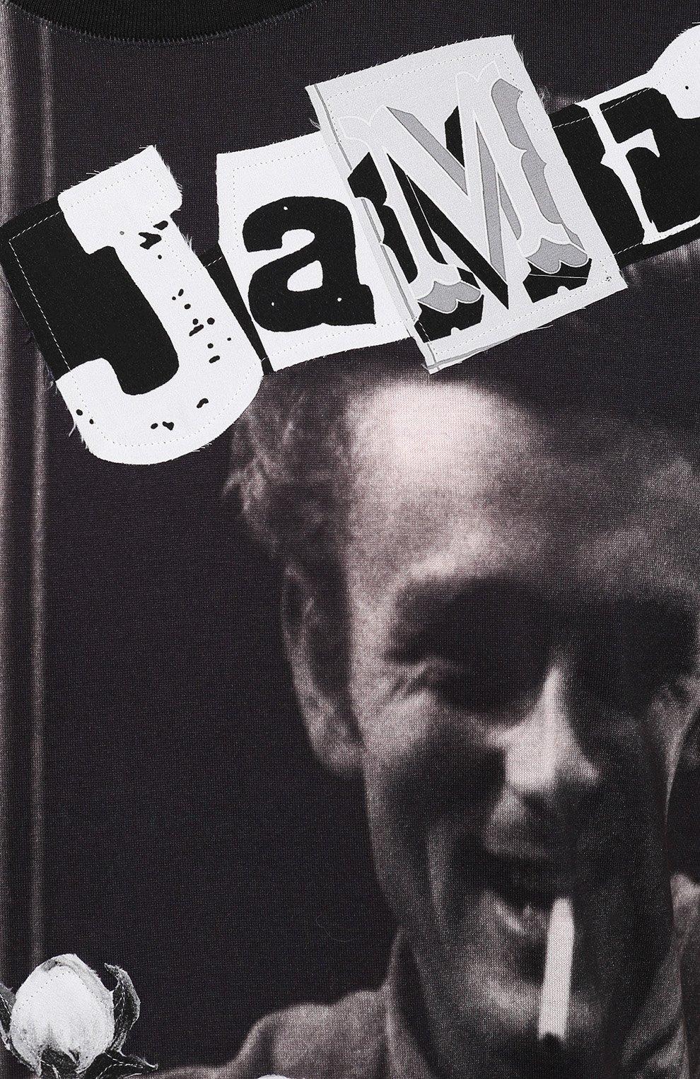 Хлопковая футболка с принтом James Dean и нашивками Dolce & Gabbana черная | Фото №5