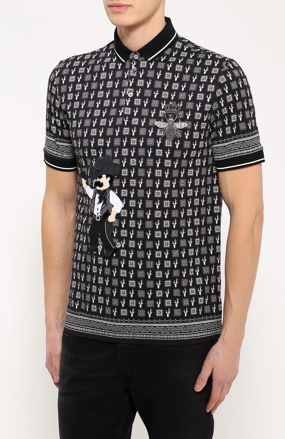 Хлопковое поло с нашивками Dolce & Gabbana черное | Фото №3