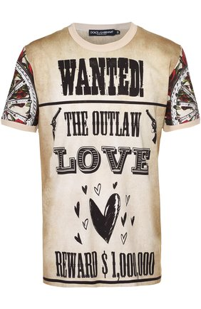 Хлопковая футболка с принтом Dolce & Gabbana бежевая | Фото №1