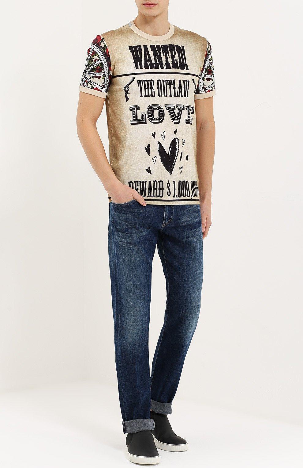 Хлопковая футболка с принтом Dolce & Gabbana бежевая | Фото №2