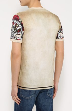 Хлопковая футболка с принтом Dolce & Gabbana бежевая | Фото №4