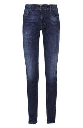 Зауженные джинсы с потертостями Diesel синие   Фото №1