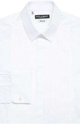 Хлопковая сорочка под смокинг Dolce & Gabbana белая | Фото №1