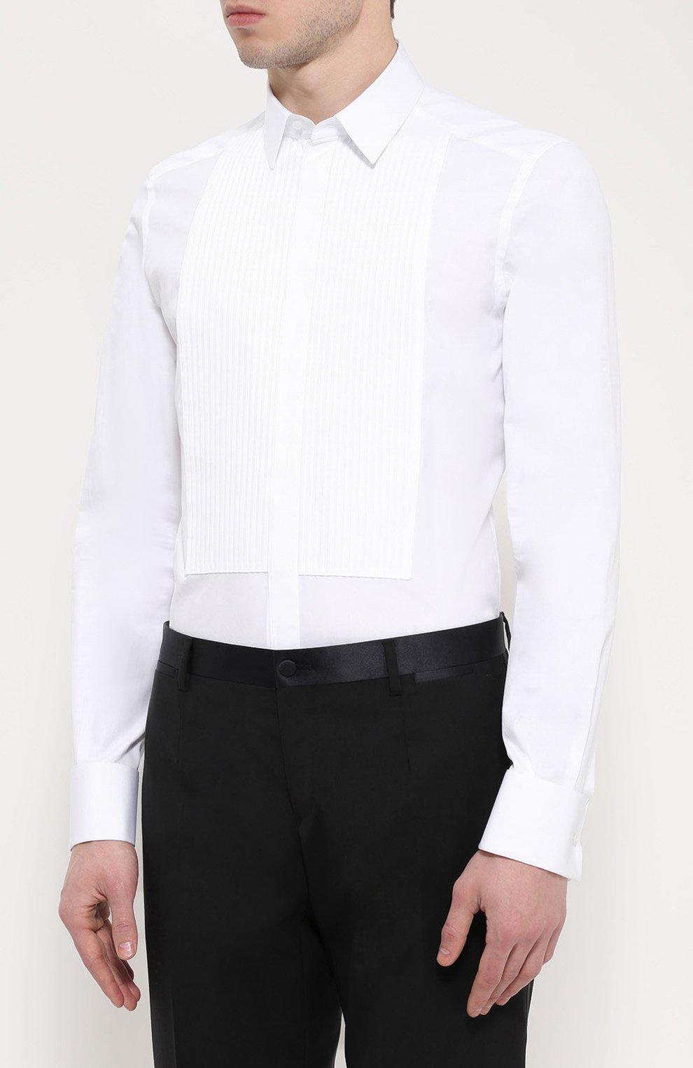 Хлопковая сорочка под смокинг Dolce & Gabbana белая | Фото №3
