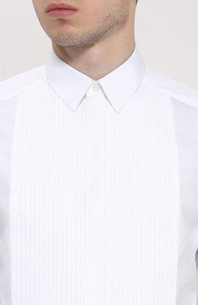 Хлопковая сорочка под смокинг Dolce & Gabbana белая | Фото №5