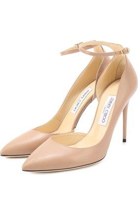 Женская кожаные туфли lucy 100 на шпильке JIMMY CHOO бежевого цвета, арт. LUCY 100/KID | Фото 1