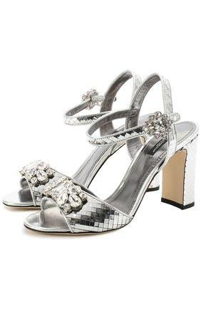 Босоножки Keira из фактурной кожи с кристаллами Dolce & Gabbana серебряные | Фото №1