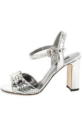 Босоножки Keira из фактурной кожи с кристаллами Dolce & Gabbana серебряные | Фото №3