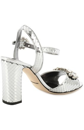 Босоножки Keira из фактурной кожи с кристаллами Dolce & Gabbana серебряные | Фото №4