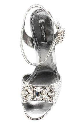Босоножки Keira из фактурной кожи с кристаллами Dolce & Gabbana серебряные | Фото №5