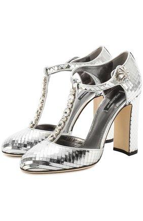 Туфли Vally из фактурной кожи с кристаллами Dolce & Gabbana серебряные   Фото №1