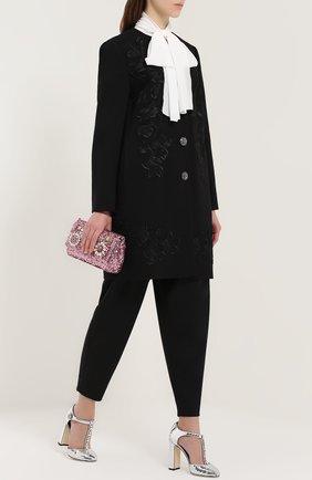 Туфли Vally из фактурной кожи с кристаллами Dolce & Gabbana серебряные   Фото №2