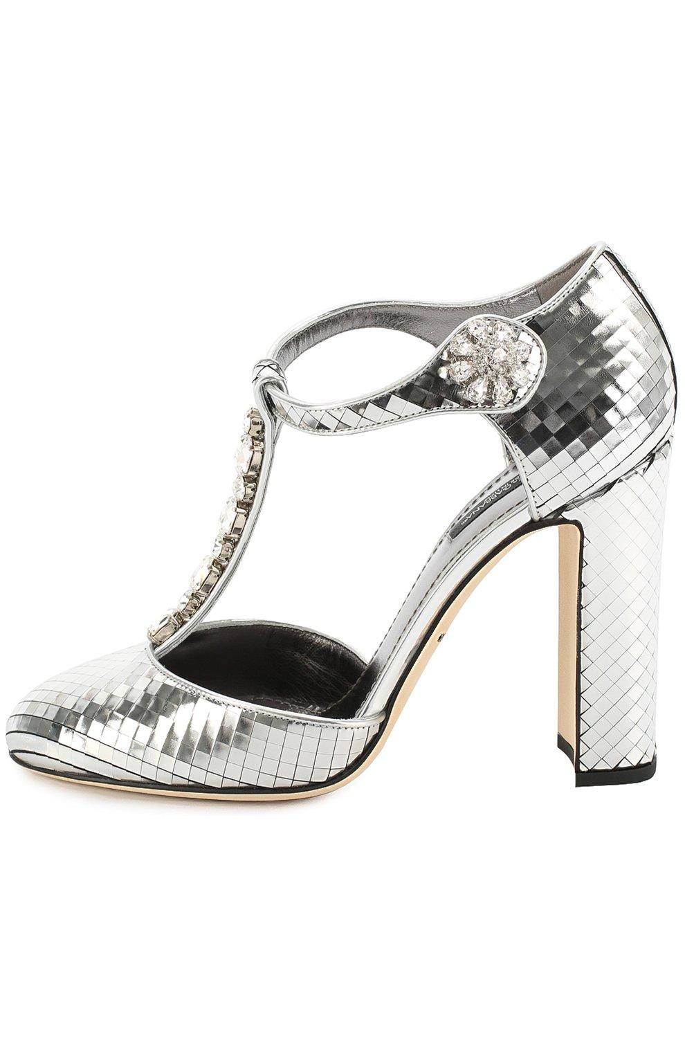 Туфли Vally из фактурной кожи с кристаллами Dolce & Gabbana серебряные   Фото №3