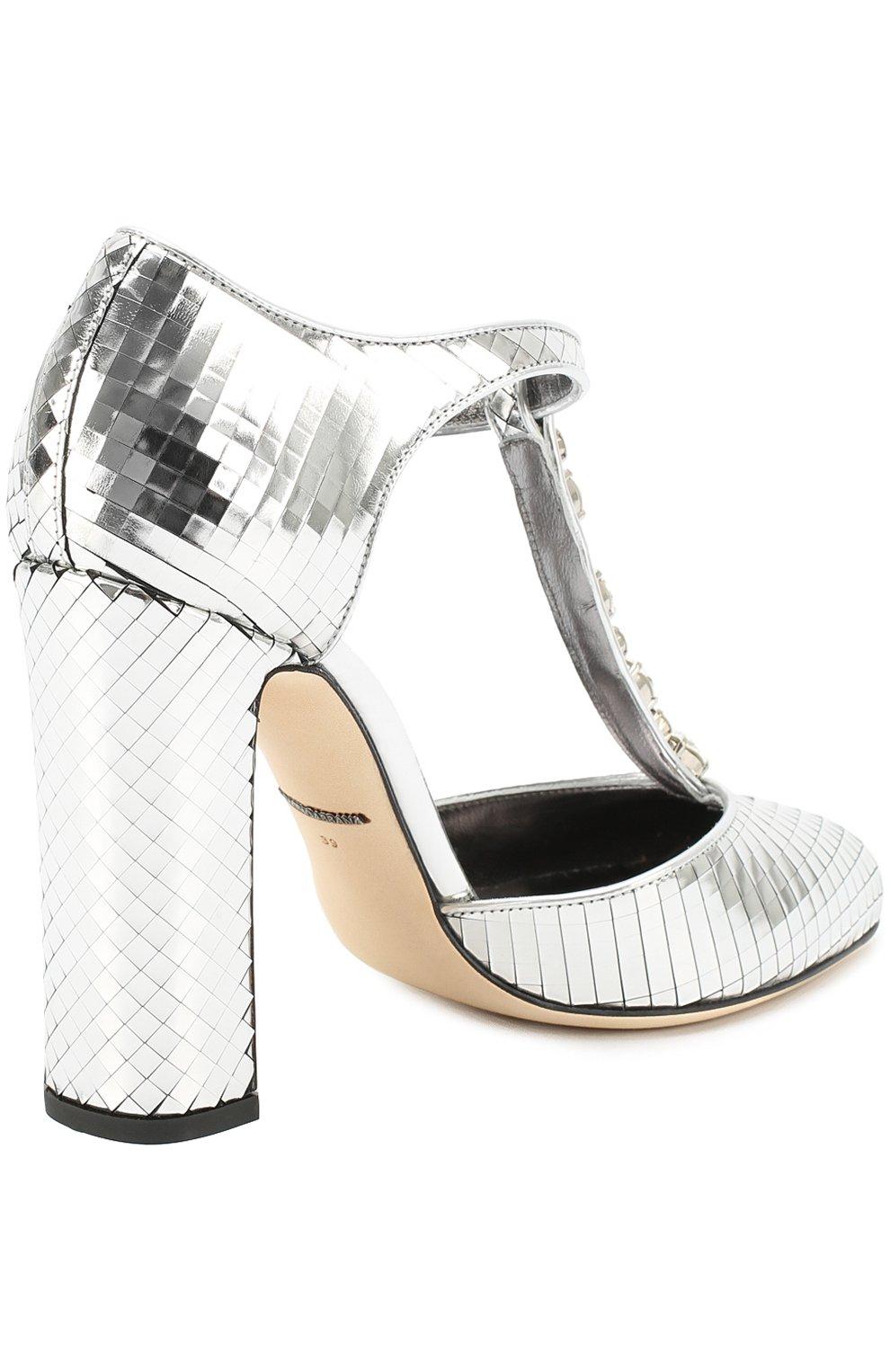 Туфли Vally из фактурной кожи с кристаллами Dolce & Gabbana серебряные   Фото №4