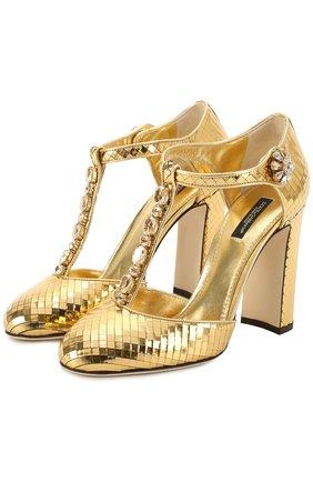 Туфли Vally из фактурной кожи с кристаллами Dolce & Gabbana золотые | Фото №1