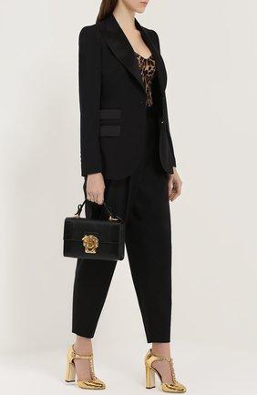 Туфли Vally из фактурной кожи с кристаллами Dolce & Gabbana золотые | Фото №2