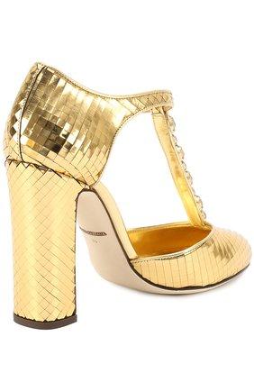 Туфли Vally из фактурной кожи с кристаллами Dolce & Gabbana золотые | Фото №4