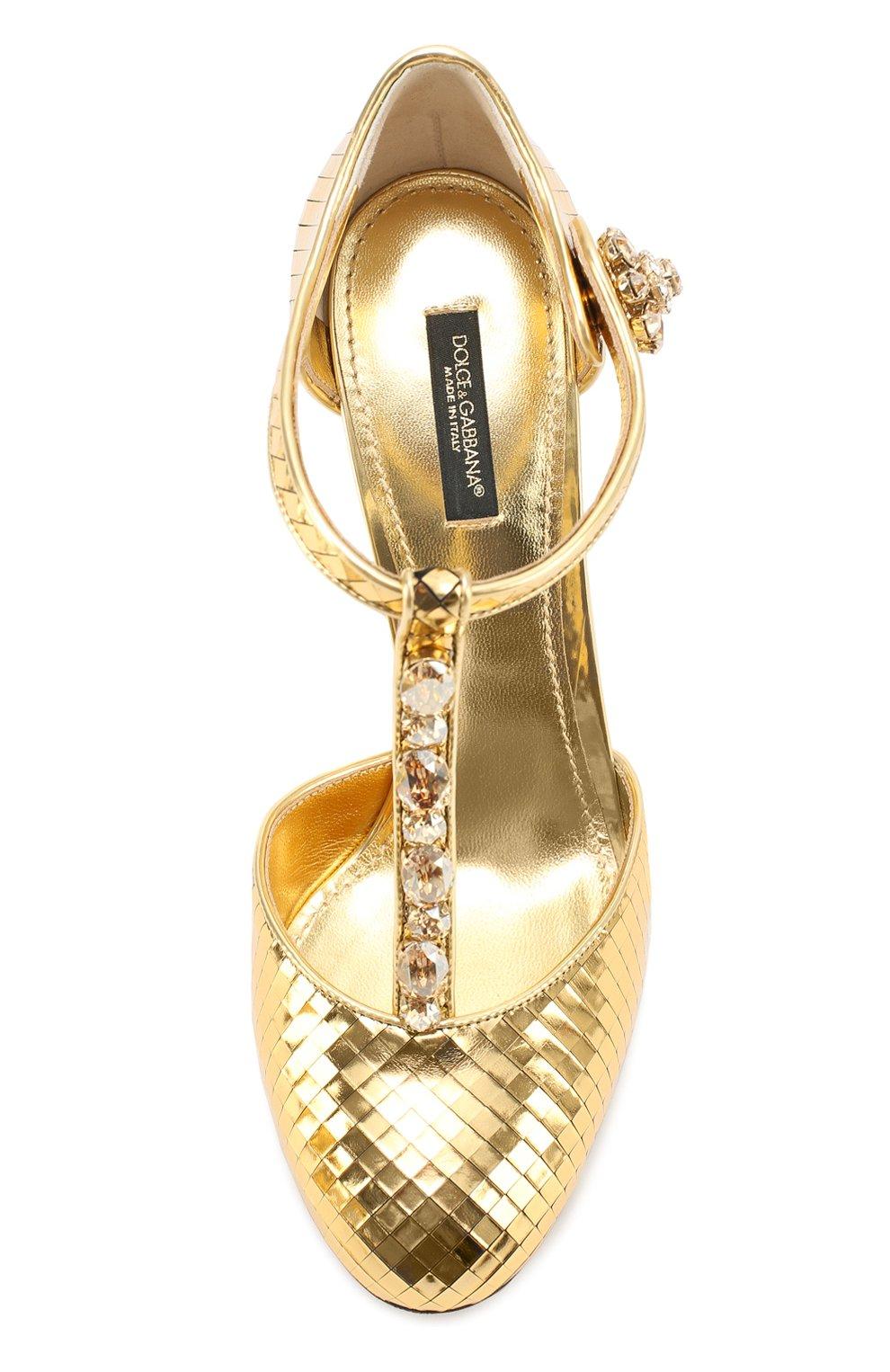 Туфли Vally из фактурной кожи с кристаллами Dolce & Gabbana золотые | Фото №5