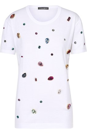 Футболка прямого кроя с кристаллами Dolce & Gabbana белая | Фото №1