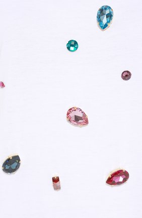 Футболка прямого кроя с кристаллами Dolce & Gabbana белая | Фото №5