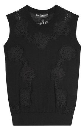 Кашемировый топ без рукавов с кружевной вставкой Dolce & Gabbana черный | Фото №1