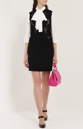 Кашемировый топ без рукавов с кружевной вставкой Dolce & Gabbana черный | Фото №2