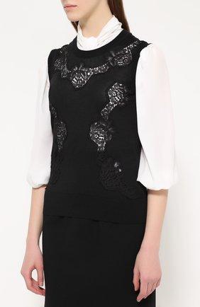 Кашемировый топ без рукавов с кружевной вставкой Dolce & Gabbana черный | Фото №3