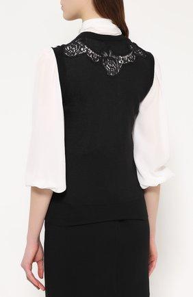 Кашемировый топ без рукавов с кружевной вставкой Dolce & Gabbana черный | Фото №4