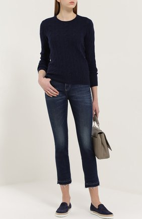 Укороченные расклешенные джинсы с бахромой AMO синие   Фото №1