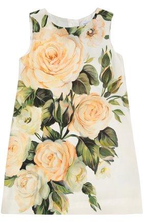 Детское платье без рукавов с цветочным принтом Dolce & Gabbana разноцветного цвета   Фото №1