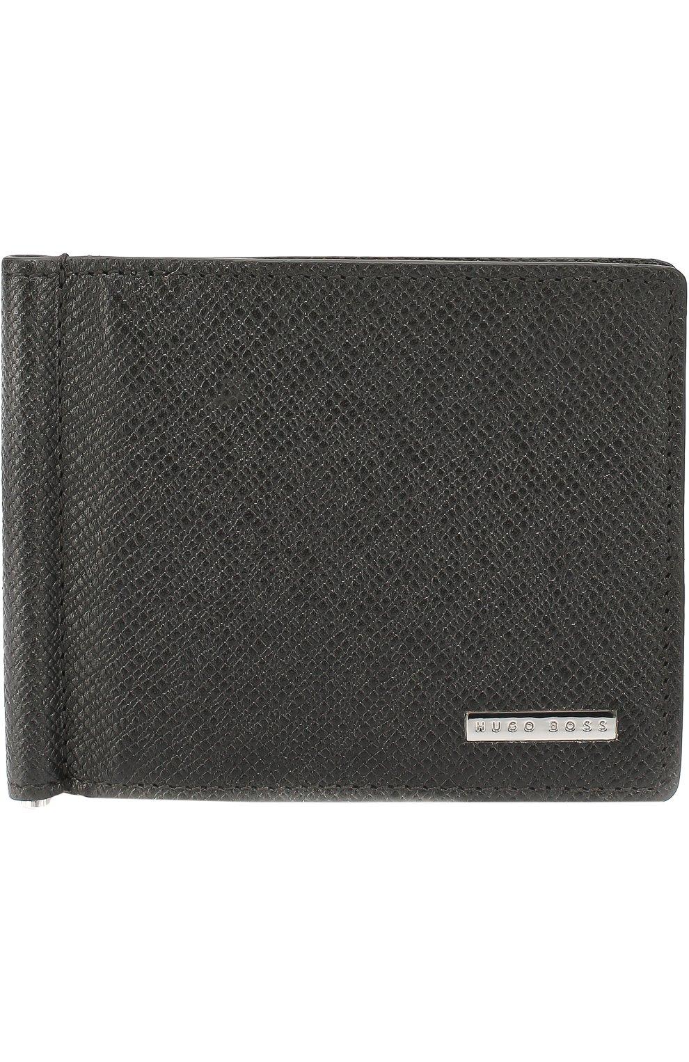 Кожаный зажим для денег BOSS черного цвета — купить за 11000 руб. в ... b28f803e641f6