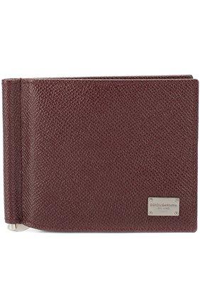 Мужской кожаный зажим для денег DOLCE & GABBANA бордового цвета, арт. 0115/BP1920/A1001 | Фото 1