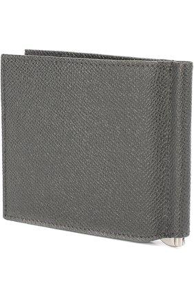Кожаный зажим для денег Dolce & Gabbana серого цвета | Фото №2