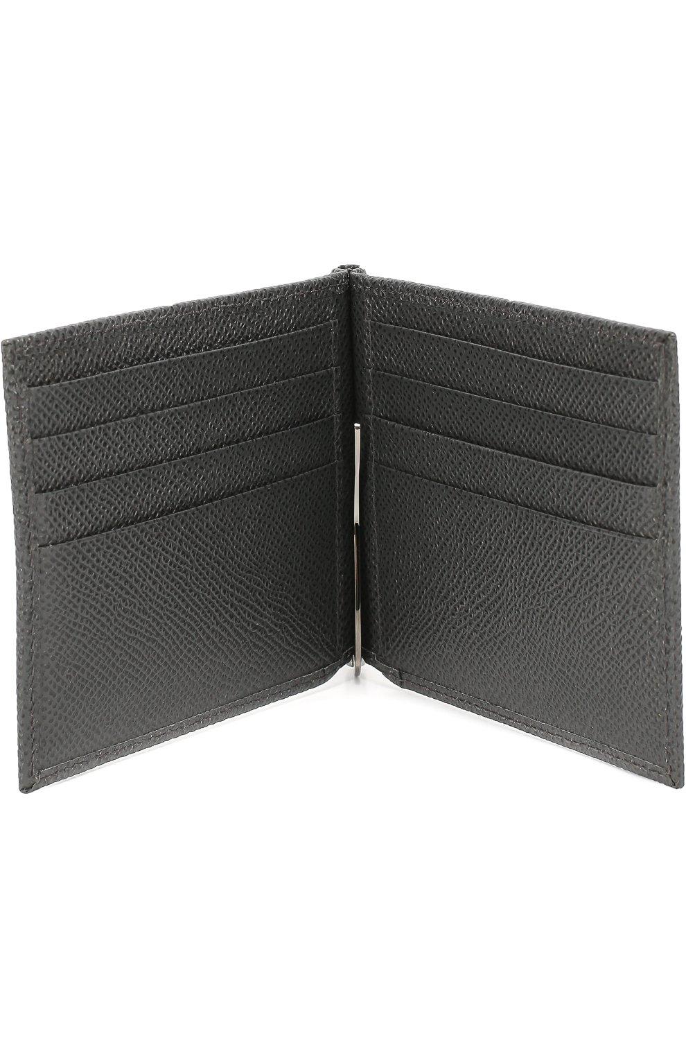 Кожаный зажим для денег Dolce & Gabbana серого цвета | Фото №3