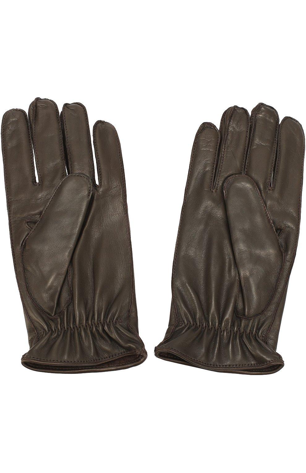 Кожаные перчатки с кашемировой подкладкой | Фото №3