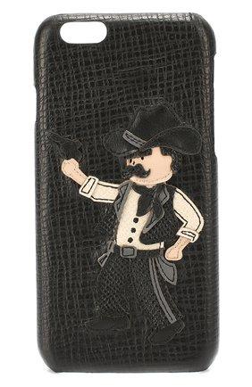Кожаный чехол для iPhone 6/6S с аппликацией Dolce & Gabbana    Фото №1