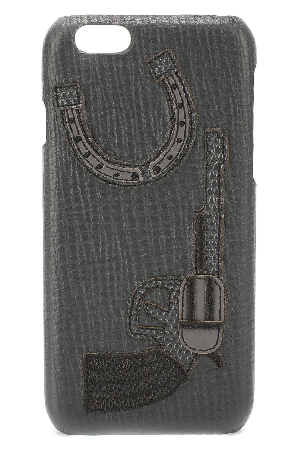 Кожаный чехол для iPhone 6/6S с аппликацией | Фото №1